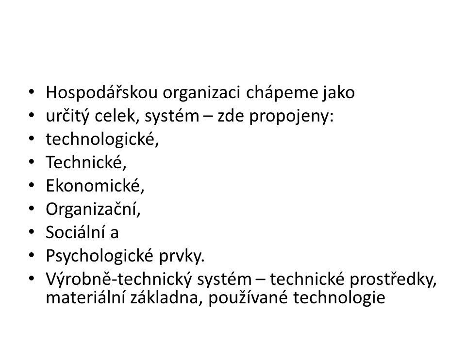 Hospodářskou organizaci chápeme jako určitý celek, systém – zde propojeny: technologické, Technické, Ekonomické, Organizační, Sociální a Psychologické prvky.