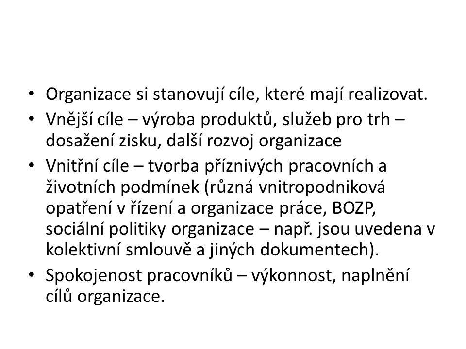Organizace si stanovují cíle, které mají realizovat. Vnější cíle – výroba produktů, služeb pro trh – dosažení zisku, další rozvoj organizace Vnitřní c
