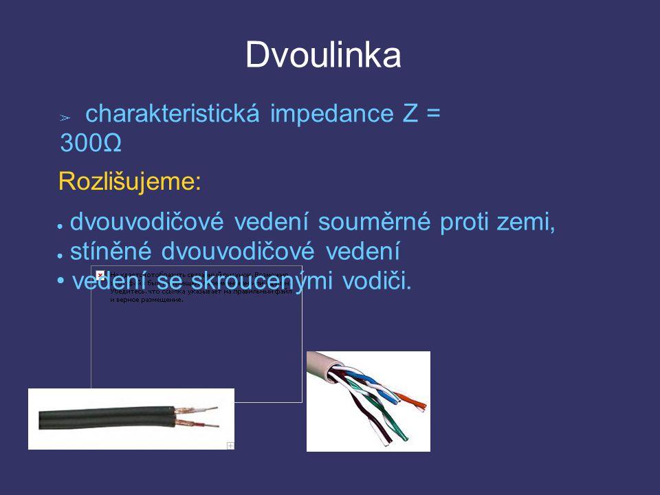 Dvoulinka ➢ charakteristická impedance Z = 300Ω ● dvouvodičové vedení souměrné proti zemi, ● stíněné dvouvodičové vedení vedení se skroucenými vodiči.