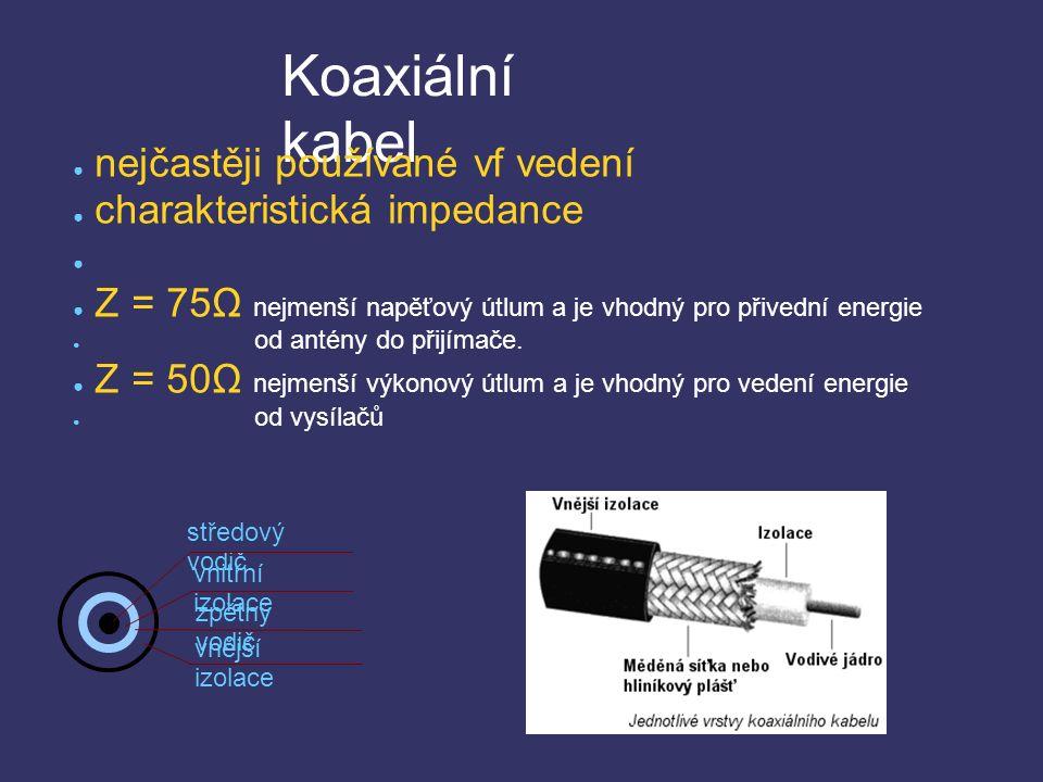 Koaxiální kabel středový vodič vnitřní izolace zpětný vodič vnější izolace ● nejčastěji používané vf vedení ● charakteristická impedance ● ● Z = 75Ω nejmenší napěťový útlum a je vhodný pro přivední energie ● od antény do přijímače.