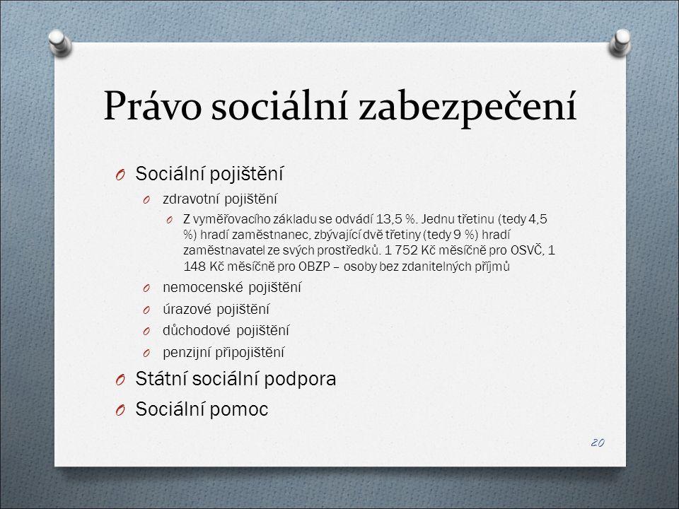 Právo sociální zabezpečení O Sociální pojištění O zdravotní pojištění O Z vyměřovacího základu se odvádí 13,5 %.