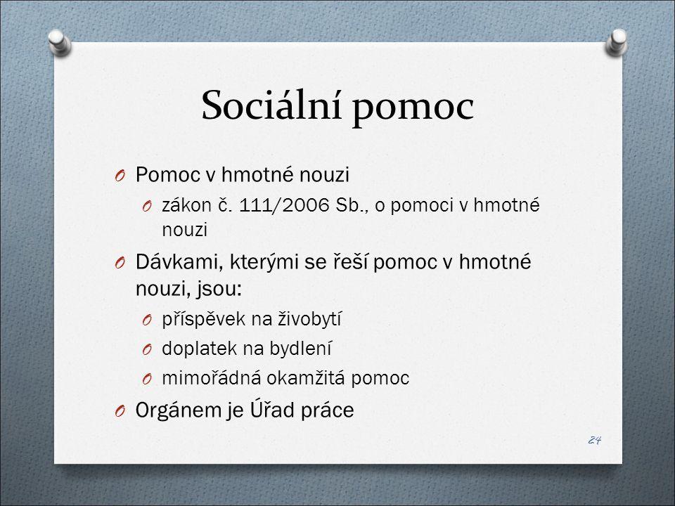 Sociální pomoc O Pomoc v hmotné nouzi O zákon č.