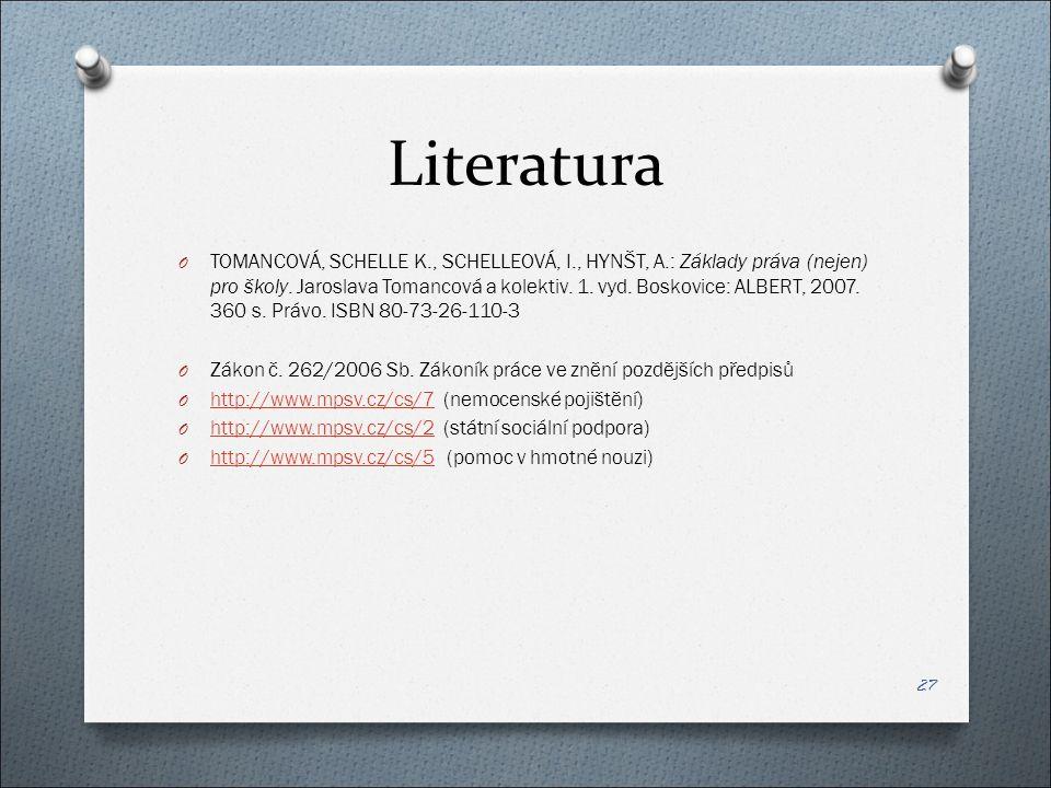 Literatura O TOMANCOVÁ, SCHELLE K., SCHELLEOVÁ, I., HYNŠT, A.: Základy práva (nejen) pro školy.