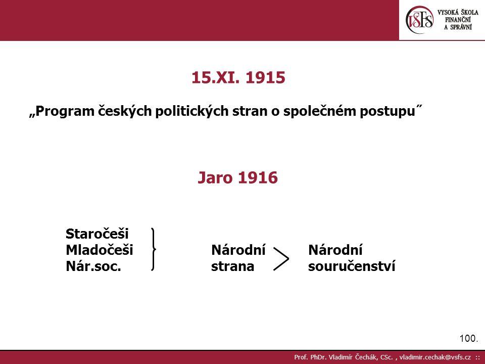 100. Prof. PhDr. Vladimír Čechák, CSc., vladimir.cechak@vsfs.cz :: 15.XI.