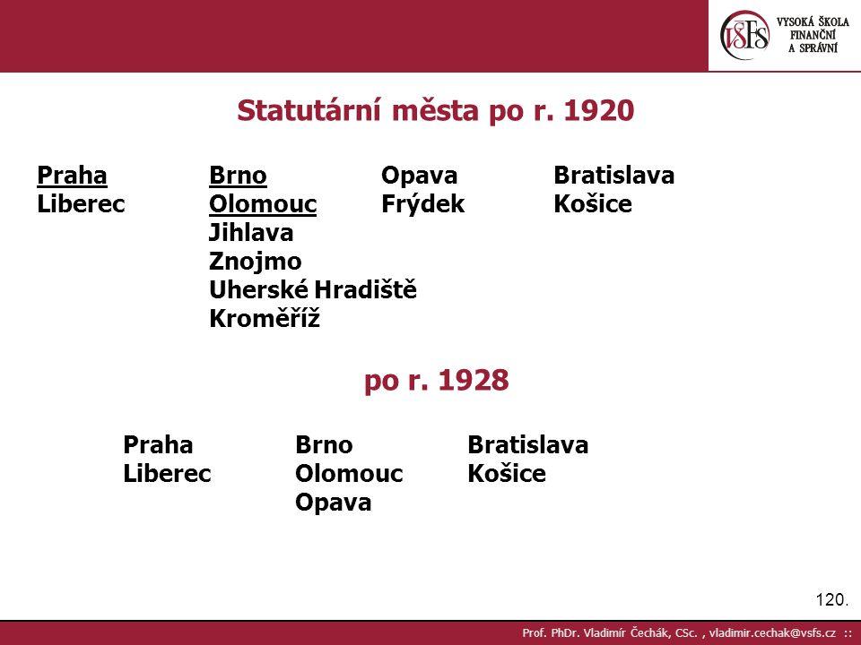 120. Prof. PhDr. Vladimír Čechák, CSc., vladimir.cechak@vsfs.cz :: Statutární města po r.