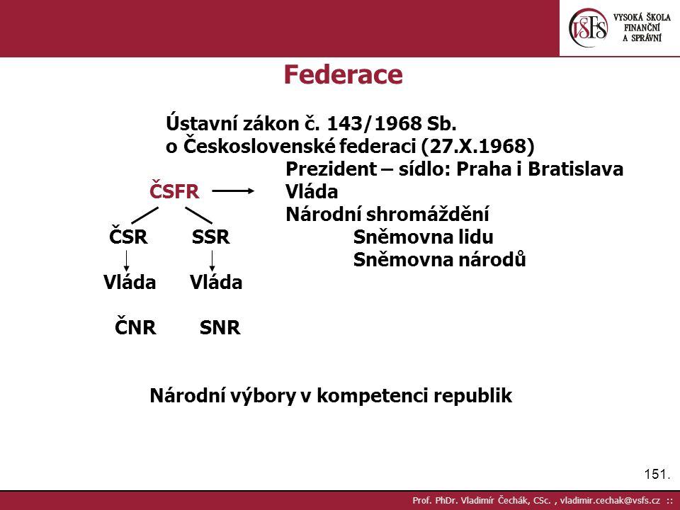 151. Prof. PhDr. Vladimír Čechák, CSc., vladimir.cechak@vsfs.cz :: Federace Ústavní zákon č.