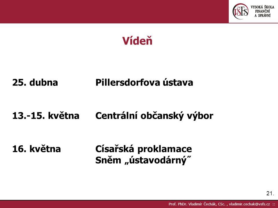 21. Prof. PhDr. Vladimír Čechák, CSc., vladimir.cechak@vsfs.cz :: Vídeň 25.