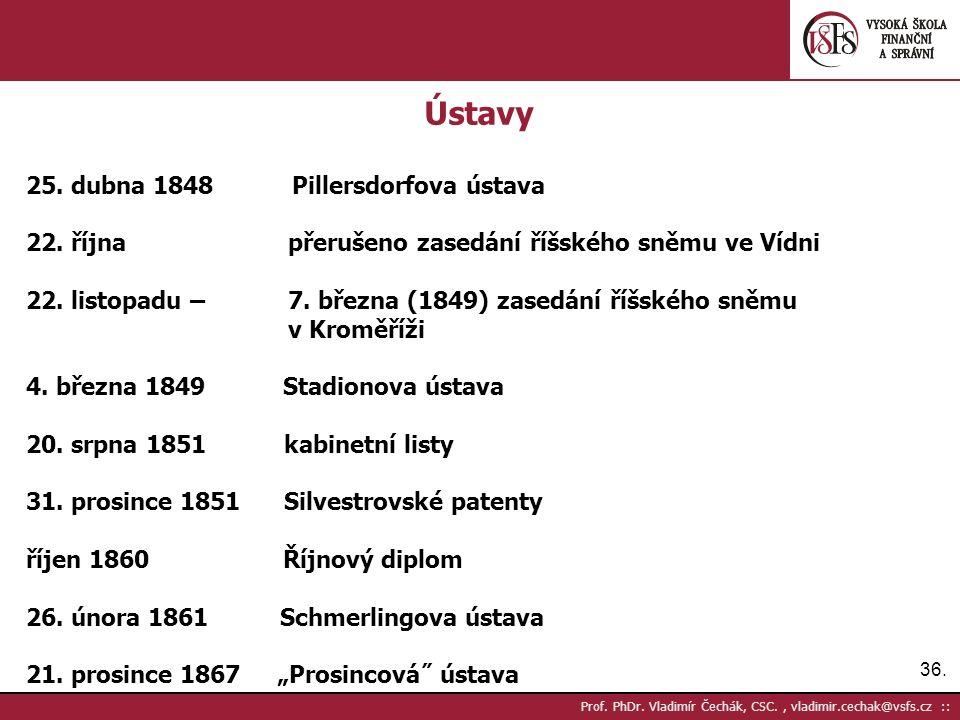 36. Prof. PhDr. Vladimír Čechák, CSC., vladimir.cechak@vsfs.cz :: Ústavy 25.