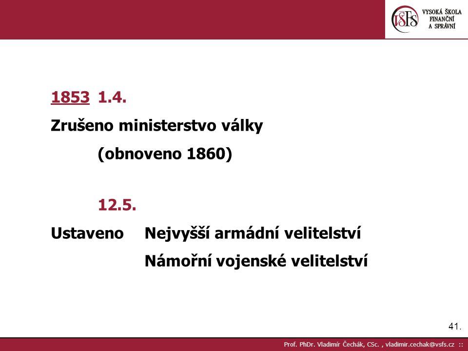 41. Prof. PhDr. Vladimír Čechák, CSc., vladimir.cechak@vsfs.cz :: 1853 1.4.