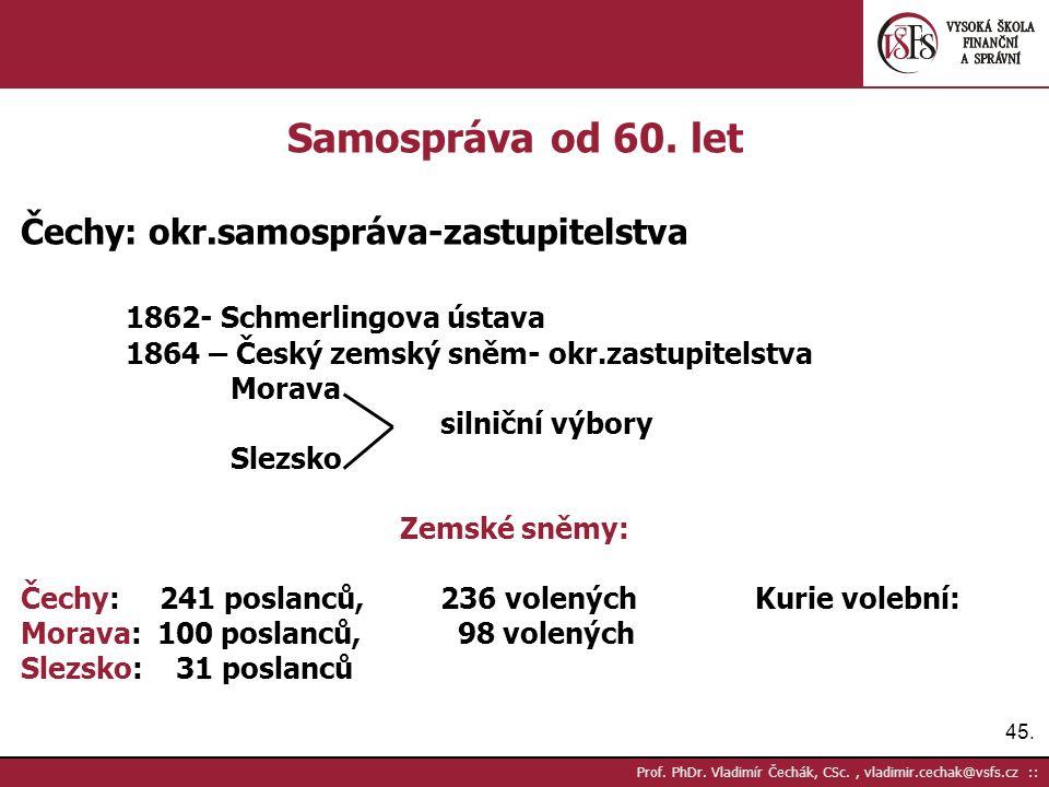 45. Prof. PhDr. Vladimír Čechák, CSc., vladimir.cechak@vsfs.cz :: Samospráva od 60.