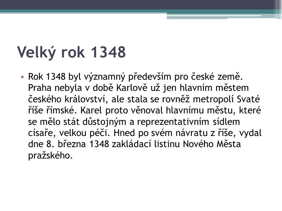 Velký rok 1348 Rok 1348 byl významný především pro české země.