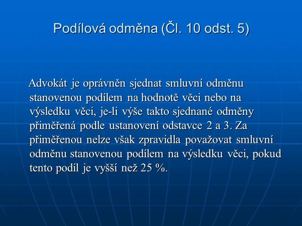 Podílová odměna (Čl. 10 odst.