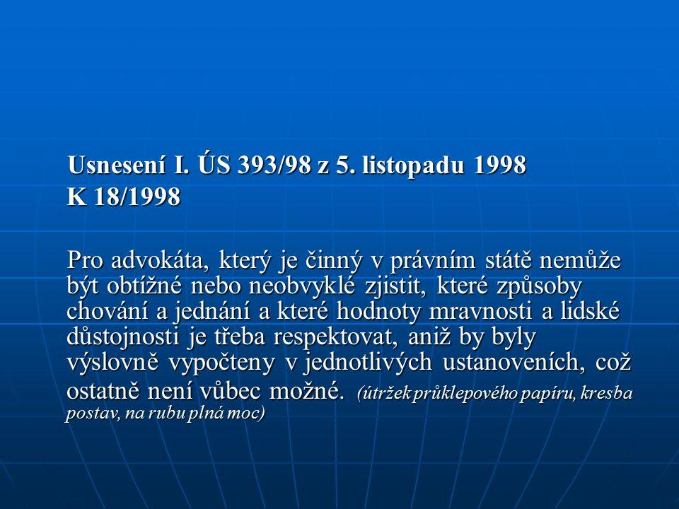 Usnesení I. ÚS 393/98 z 5. listopadu 1998 Usnesení I.