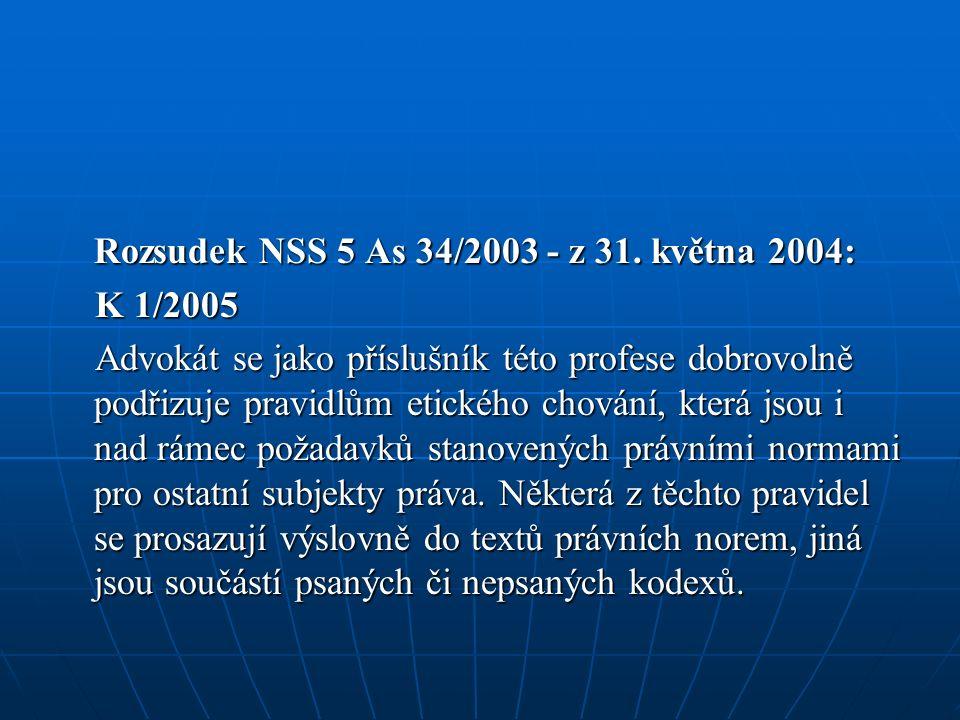 Rozsudek NSS 5 As 34/2003 - z 31.