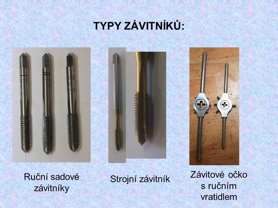 TYPY ZÁVITNÍKŮ: Ruční sadové závitníky Závitové očko s ručním vratidlem Strojní závitník