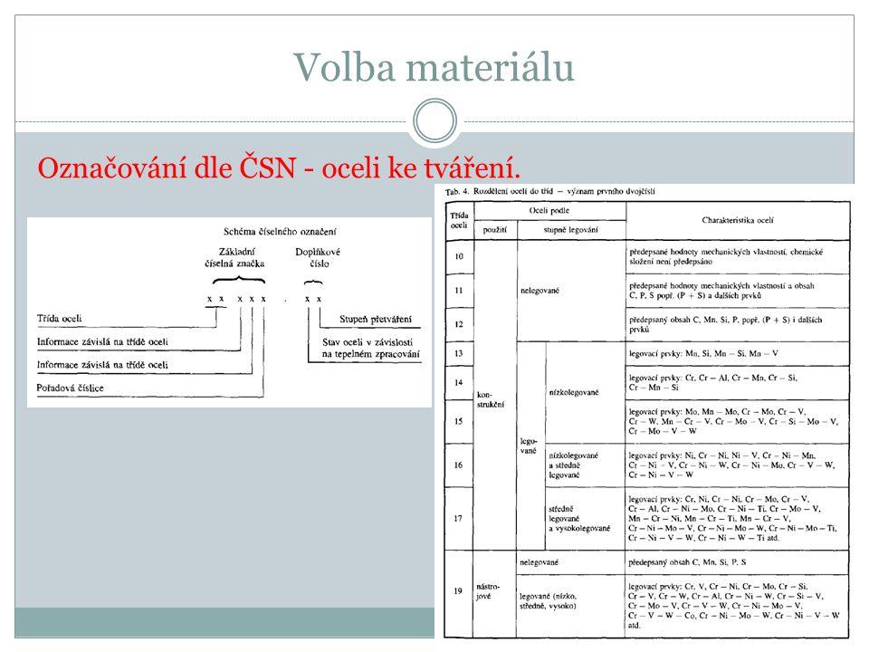 Volba materiálu Označování dle ČSN - oceli ke tváření.