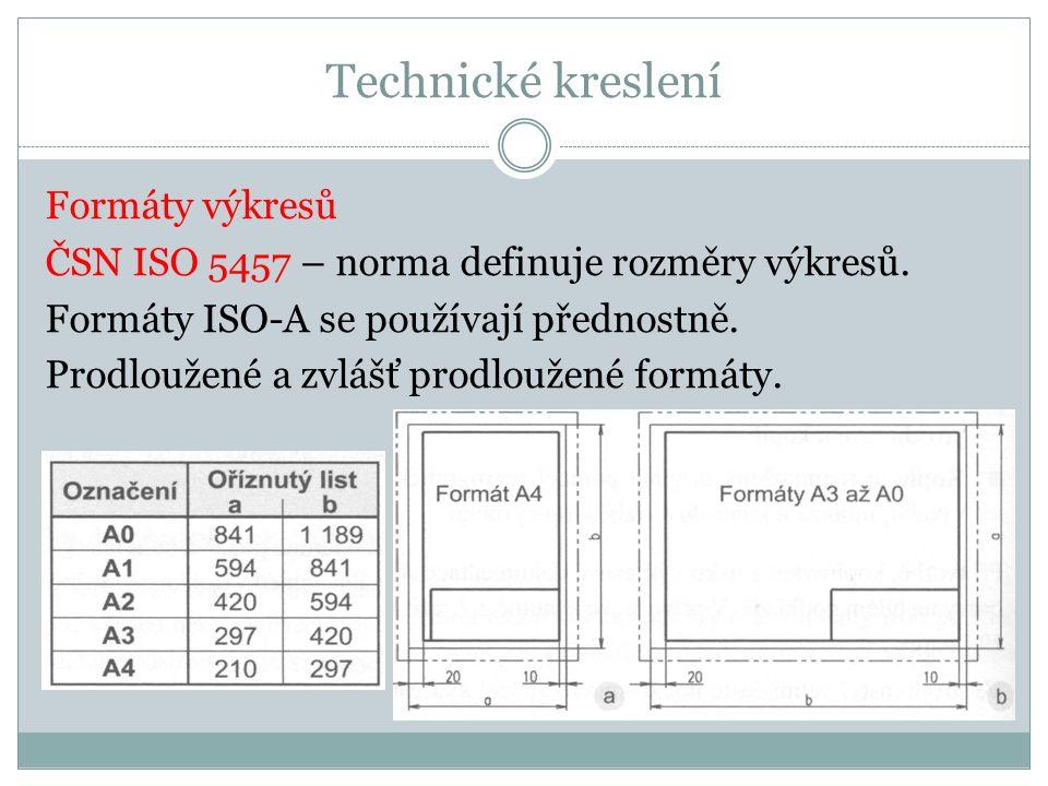 Technické kreslení Formáty výkresů ČSN ISO 5457 – norma definuje rozměry výkresů.