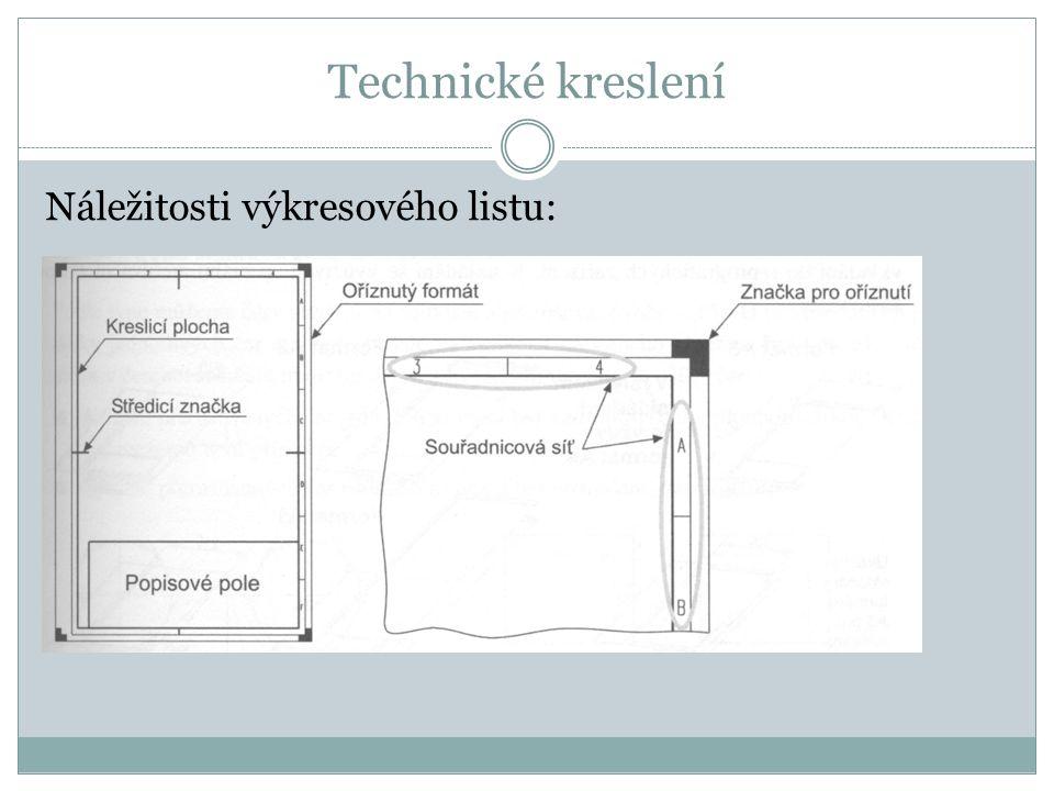 Technické kreslení Náležitosti výkresového listu: