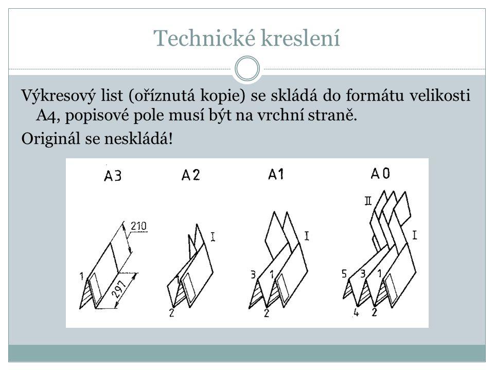 Technické kreslení Výkresový list (oříznutá kopie) se skládá do formátu velikosti A4, popisové pole musí být na vrchní straně.