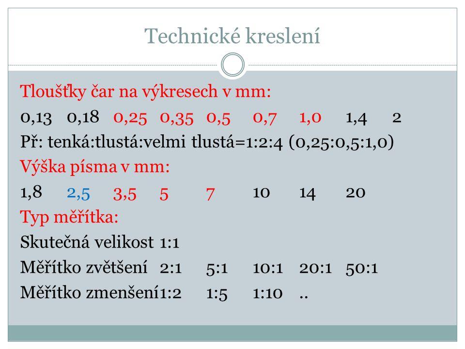 Technické kreslení Tloušťky čar na výkresech v mm: 0,130,180,250,350,50,71,01,42 Př: tenká:tlustá:velmi tlustá=1:2:4 (0,25:0,5:1,0) Výška písma v mm: 1,82,53,557101420 Typ měřítka: Skutečná velikost 1:1 Měřítko zvětšení2:15:110:120:150:1 Měřítko zmenšení1:21:51:10..