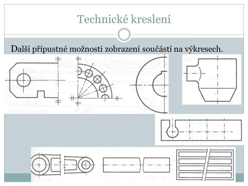 Technické kreslení D alší přípustné možnosti zobrazení součástí na výkresech.
