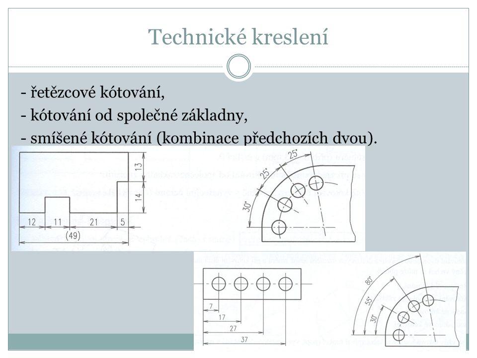 Technické kreslení - řetězcové kótování, - kótování od společné základny, - smíšené kótování (kombinace předchozích dvou).