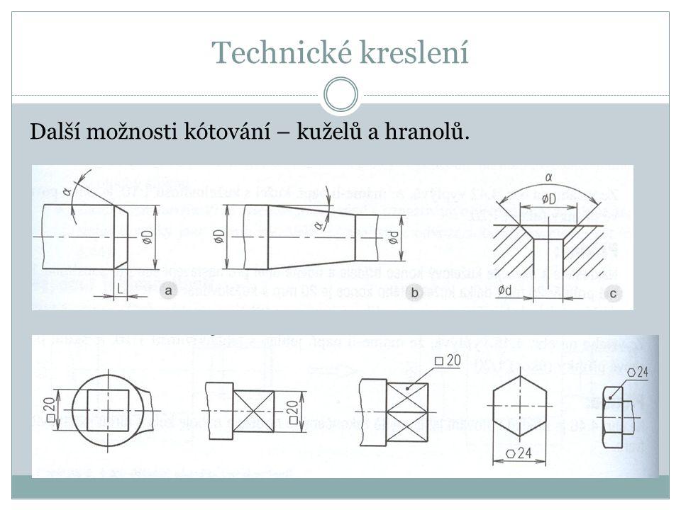 Technické kreslení Další možnosti kótování – kuželů a hranolů.