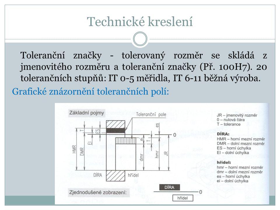 Technické kreslení Toleranční značky - tolerovaný rozměr se skládá z jmenovitého rozměru a toleranční značky (Př.