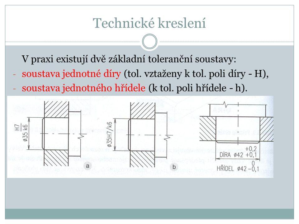 Technické kreslení V praxi existují dvě základní toleranční soustavy: - soustava jednotné díry (tol.