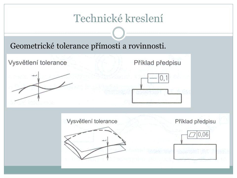 Geometrické tolerance přímosti a rovinnosti.