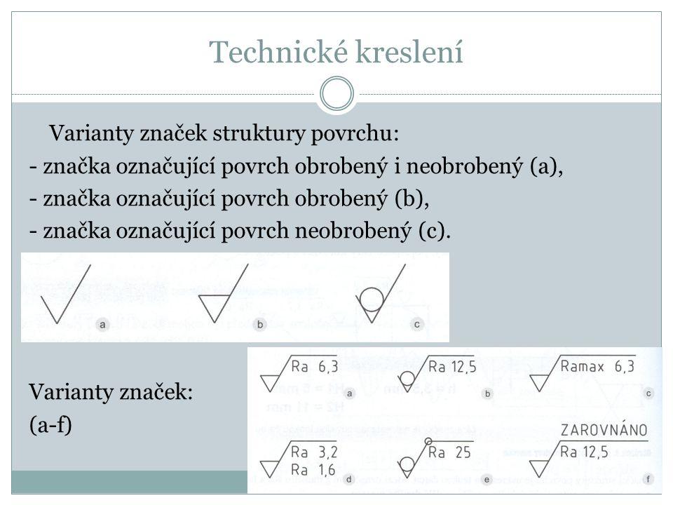 Technické kreslení Varianty značek struktury povrchu: - značka označující povrch obrobený i neobrobený (a), - značka označující povrch obrobený (b), - značka označující povrch neobrobený (c).