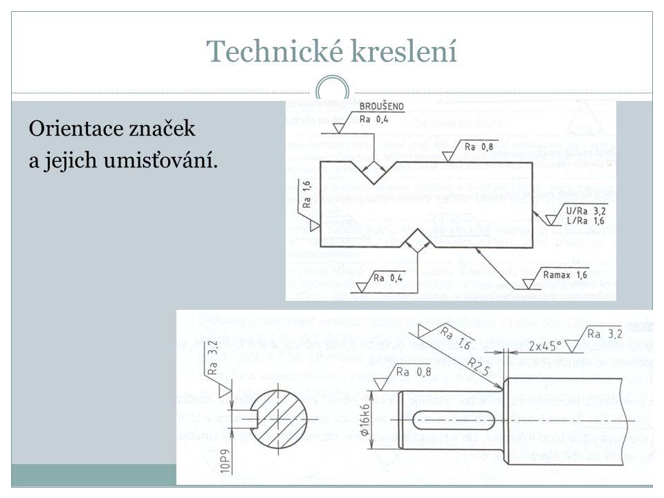 Technické kreslení Orientace značek a jejich umisťování.