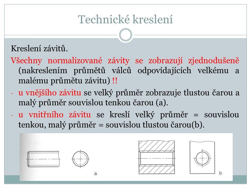 Technické kreslení Kreslení závitů.