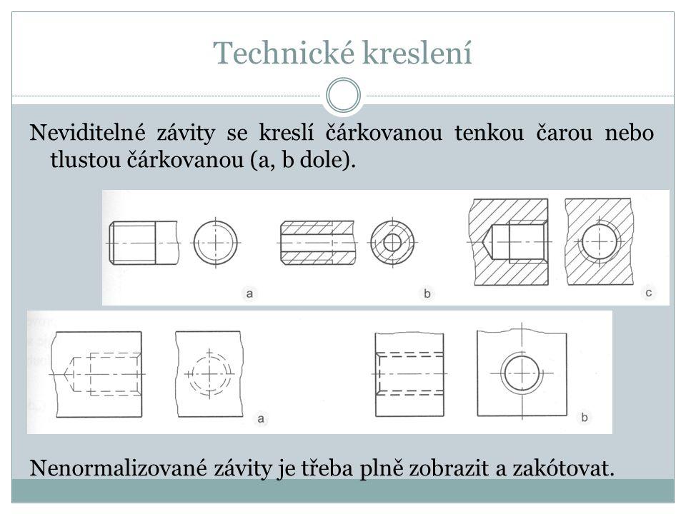 Technické kreslení Neviditelné závity se kreslí čárkovanou tenkou čarou nebo tlustou čárkovanou (a, b dole).