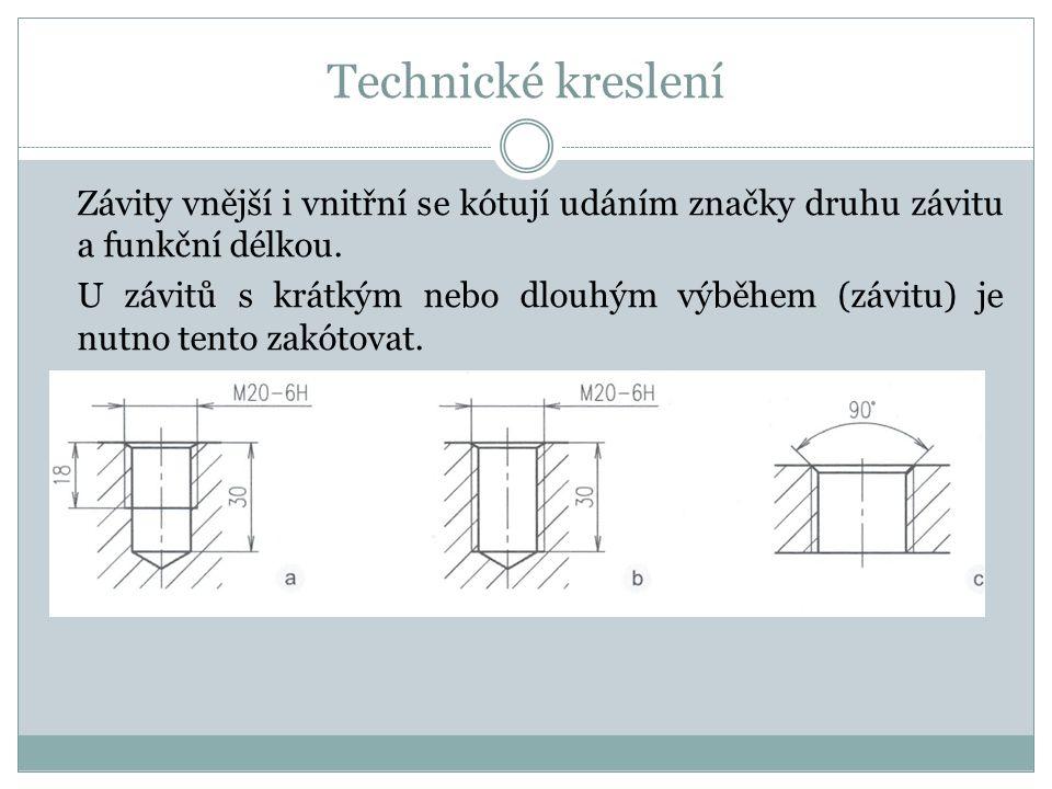 Technické kreslení Závity vnější i vnitřní se kótují udáním značky druhu závitu a funkční délkou.