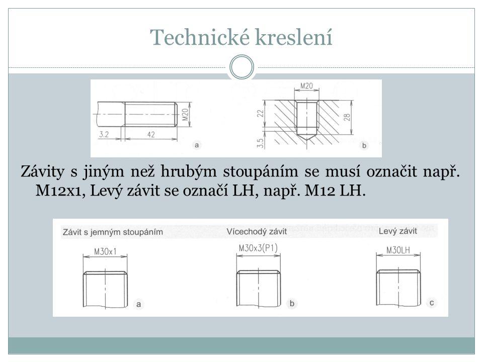 Technické kreslení Závity s jiným než hrubým stoupáním se musí označit např.