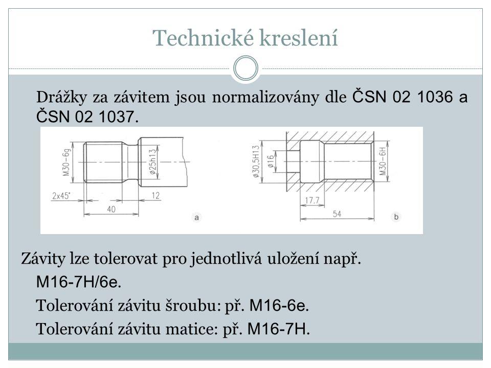 Technické kreslení Drážky za závitem jsou normalizovány dle ČSN 02 1036 a ČSN 02 1037.