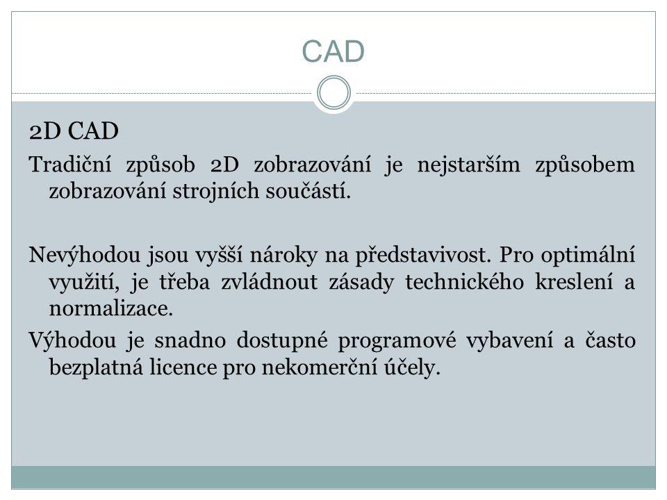 CAD 2D CAD Tradiční způsob 2D zobrazování je nejstarším způsobem zobrazování strojních součástí.