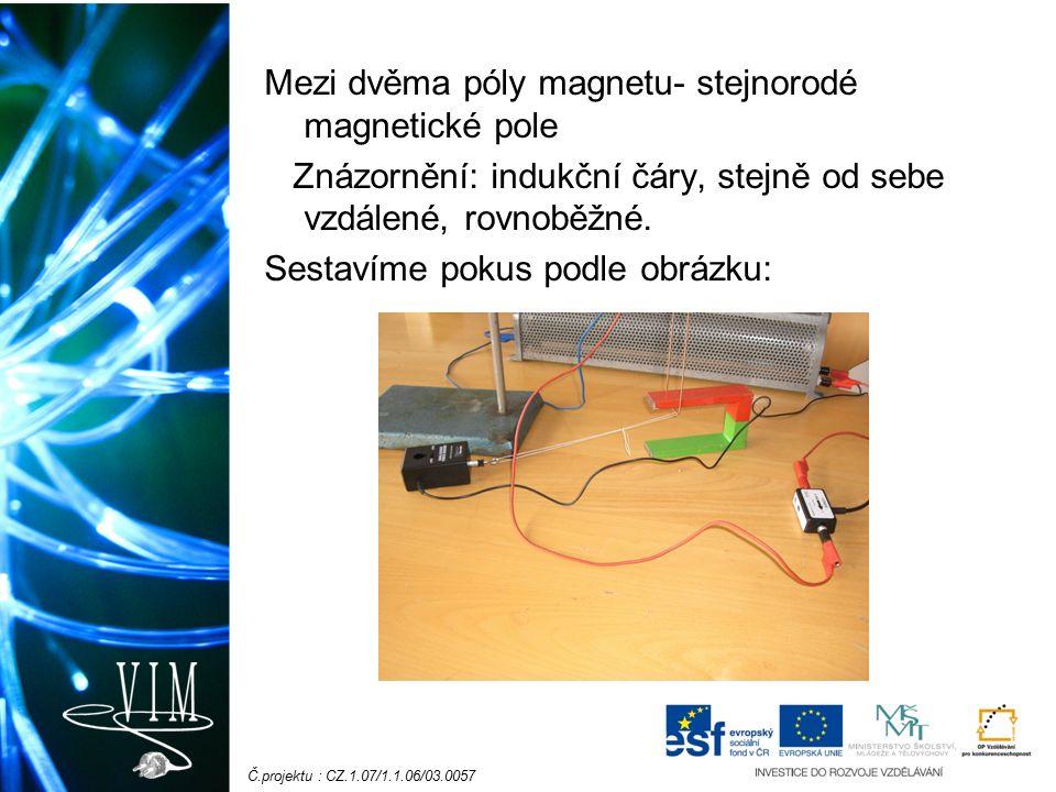 Č.projektu : CZ.1.07/1.1.06/03.0057 Mezi dvěma póly magnetu- stejnorodé magnetické pole Znázornění: indukční čáry, stejně od sebe vzdálené, rovnoběžné.