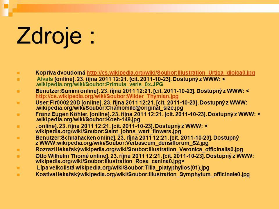 Zdroje : Kopřiva dvoudomá http://cs.wikipedia.org/wiki/Soubor:Illustration_Urtica_dioica0.jpghttp://cs.wikipedia.org/wiki/Soubor:Illustration_Urtica_d