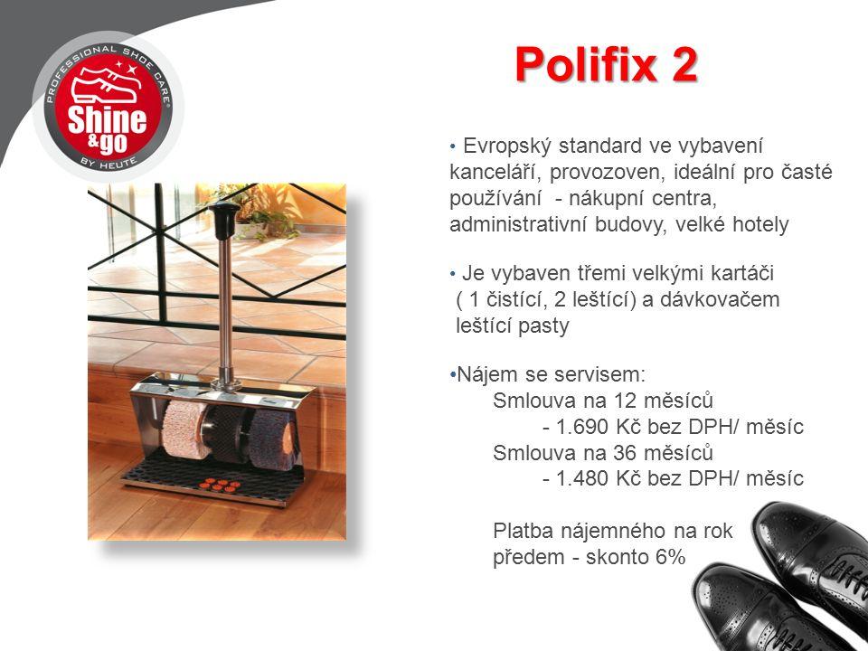 Polifix 2 Polifix 2 Evropský standard ve vybavení kanceláří, provozoven, ideální pro časté používání - nákupní centra, administrativní budovy, velké hotely Je vybaven třemi velkými kartáči ( 1 čistící, 2 leštící) a dávkovačem leštící pasty Nájem se servisem: Smlouva na 12 měsíců - 1.690 Kč bez DPH/ měsíc Smlouva na 36 měsíců - 1.480 Kč bez DPH/ měsíc Platba nájemného na rok předem - skonto 6%