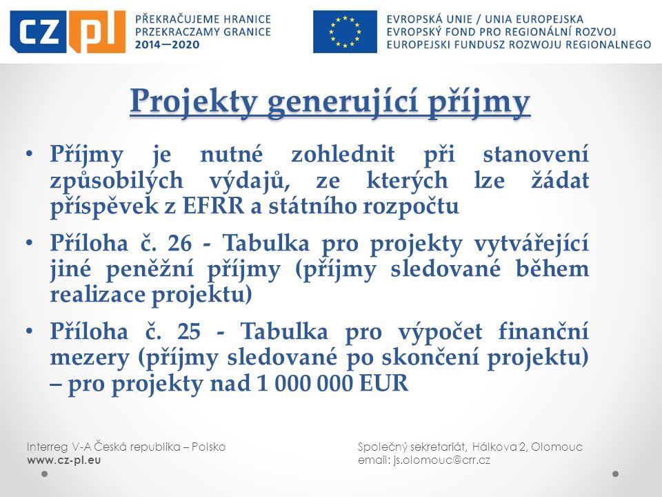 Interreg V-A Česká republika – PolskoSpolečný sekretariát, Hálkova 2, Olomouc www.cz-pl.euemail: js.olomouc@crr.cz Projekty generující příjmy Příjmy j