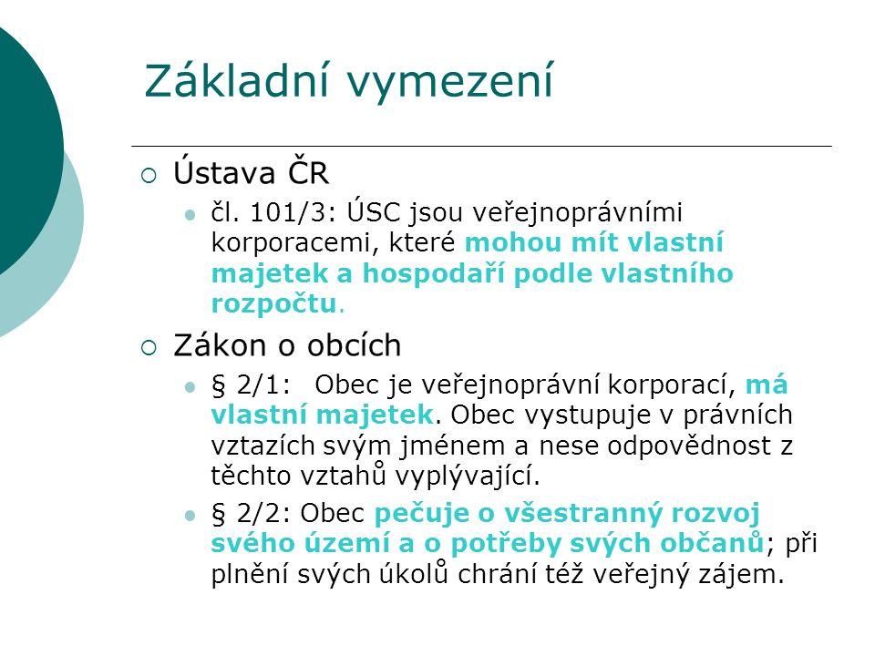 Základní vymezení  Ústava ČR čl. 101/3: ÚSC jsou veřejnoprávními korporacemi, které mohou mít vlastní majetek a hospodaří podle vlastního rozpočtu. 
