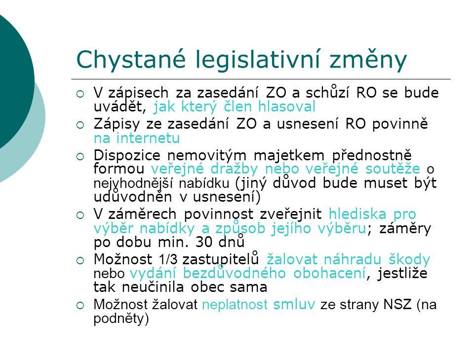 Chystané legislativní změny  V zápisech za zasedání ZO a schůzí RO se bude uvádět, jak který člen hlasoval  Zápisy ze zasedání ZO a usnesení RO povinně na internetu  Dispozice nemovitým majetkem přednostně formou veřejné dražby nebo veřejné soutěže o nejvhodnější nabídku (jiný důvod bude muset být udůvodněn v usnesení)  V záměrech povinnost zveřejnit hlediska pro výběr nabídky a způsob jejího výběru; záměry po dobu min.