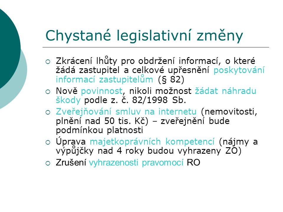 Chystané legislativní změny  Zkrácení lhůty pro obdržení informací, o které žádá zastupitel a celkové upřesnění poskytování informací zastupitelům (§ 82)  Nově povinnost, nikoli možnost žádat náhradu škody podle z.