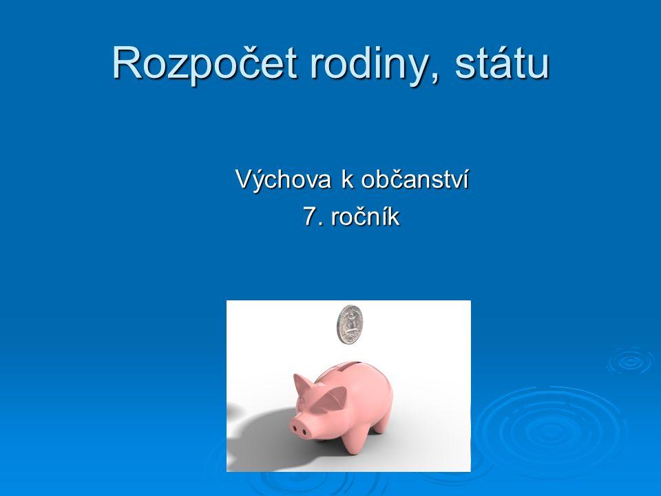 Rozpočet rodiny, státu Výchova k občanství 7. ročník