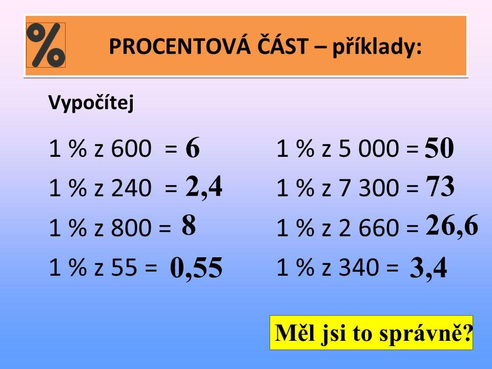 PROCENTOVÁ ČÁST – příklady: Vypočítej 1 % z 600 =1 % z 5 000 = 1 % z 240 =1 % z 7 300 = 1 % z 800 =1 % z 2 660 = 1 % z 55 = 1 % z 340 = 6 50 2,473 826,6 0,553,4 Měl jsi to správně