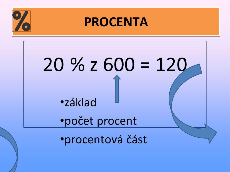 PROCENTA 20 % z 600 = 120 základ počet procent procentová část