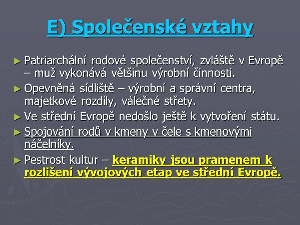 E) Společenské vztahy ► Patriarchální rodové společenství, zvláště v Evropě – muž vykonává většinu výrobní činnosti.