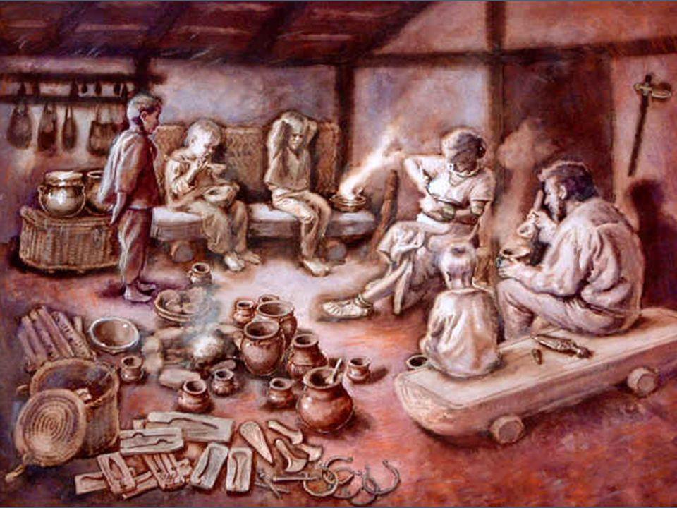 B) Způsob obživy ► Hlavní zdroj –zemědělství, doplňkově lov a sběr, pěstuje se – pšenice, oves, žito, jáhly, hrách, boby.